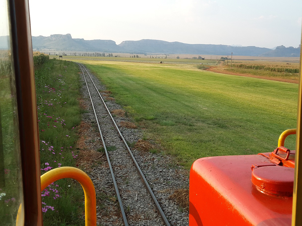 A view of the Sandstone airstrip from the cab of Class 91, 91-010 Picture by Dave Richardson