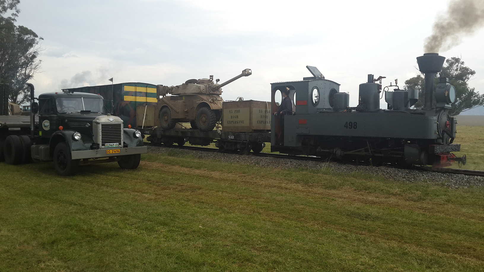 The Feldbahn crew get  ready to move as the Diamond T rolls by Picture by Dave Richardson